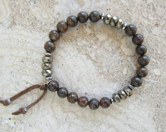 Bronzite Pyrite Stone Gemstone Stainless Steel Suede Tie Mens Stretch Bracelet
