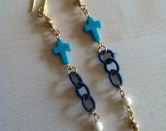 Blue Cross earrings.