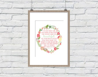 1 Peter 3:3-4 Bible Verse Art Printable, Print wall art decor poster, nursery family inspirational quote - INSTANT DOWNLOAD