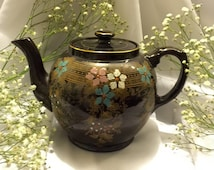 Vintage English Gibson Chocolate Brown Floral Porcelain Teapot.........................https://www.etsy.com/shop/CoCoBlueTreasures