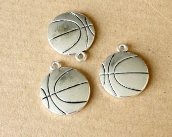 10pcs 19mm Antique Silver Basketball Charm, Basketball Pendant  ABA-R019