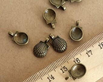 50pcs 15x10mm Antique Bronze  Vintage style shell Charm Pendant ABA015