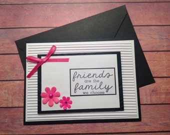 Friendship card, Blank handmade card, handmade card, pink white and black card,
