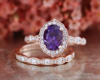 Bridal Set Vintage Floral Amethyst Engagement Ring and Scalloped Diamond Wedding Band in 14k Rose Gold 8x6mm Oval Purple Gemstone Ring Set
