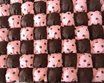 "One of a kind baby Puff quilt 28"" x 42"" cotton, with dark brown fleece minky on back and border by PerfectGiftPuffQuilt"