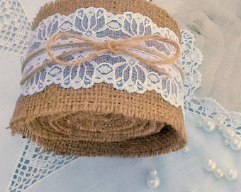 Burlap Ribbon - Burlap and Lace ribbon -  Wedding Ribbon - Wedding Decoration - Wedding Accessory - Rustic Decor
