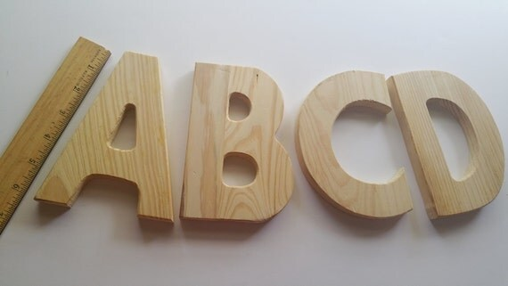Large wood monogram alphabet letters a b c and d from for Big wooden letter b