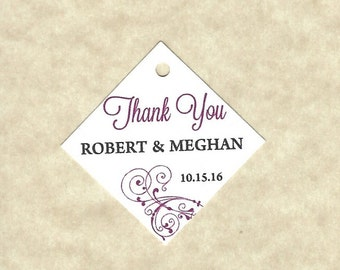 Personalized Wedding Thank You Favor Tags - Gift Bag Tags - Love Tags