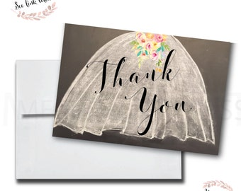 Chalkboard Thank You Card// Wedding Dress // Made to Match // Folded Thank You // A7 //Instant Download // MILAN COLLECTION