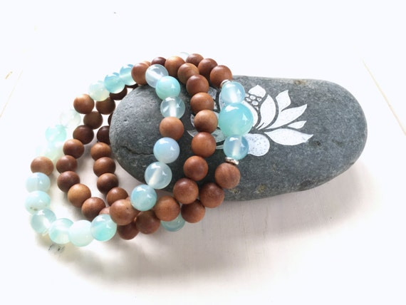 Sandalwood Stack Bracelet, Aqua Agate Mala Bead Bracelet, Match Your Mala Necklace, Yoga Jewelry, Bohemian Style Jewelry, Boho Chic