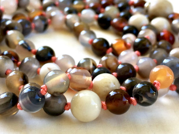 Botswana Agate Mala Beads, Mala For Emotional Healing, River Stone Mala Necklace, Mala For Overcoming Depression, Chakra Healing Mala
