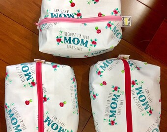 "Mother's Day Mom's bag, toiletry bag, travel bag with zipper 6""x 9"" x 3""great for keys, phone and wallet than under the beach towel!"