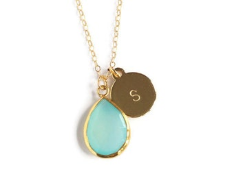SALE Blue Chalcedony Teardrop Pendant Necklace with Hand Stamped Gold Initial Charm