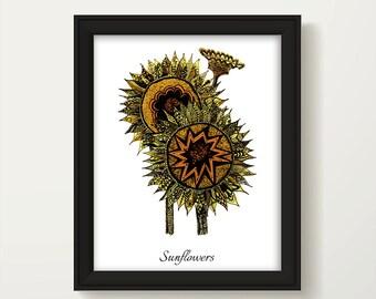 Sunflower Decor, Sunflower Wall Art, Sunflower Painting, Botanical Print, Digital Sunflower Art, Sunflower Art Print, Sunflowers  P1014A