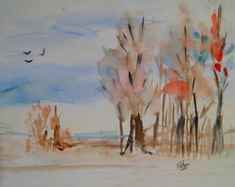 """Original Watercolour """"A bright autumn day"""""""