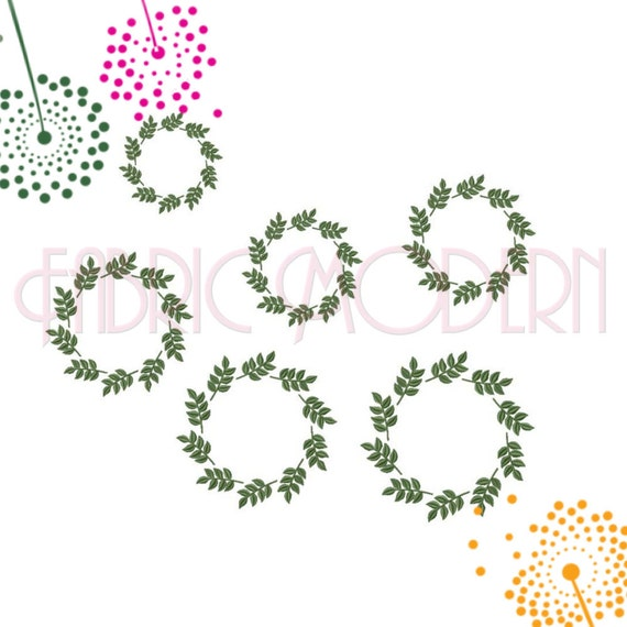 Leaves circle frame machine embroidery design round leaf