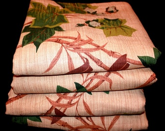 Vintage Bark Cloth 4 Ivy and Bamboo Exotic Curtain Panels