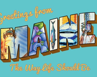 Retro Greetings From Maine Postcard Featuring Original Artwork