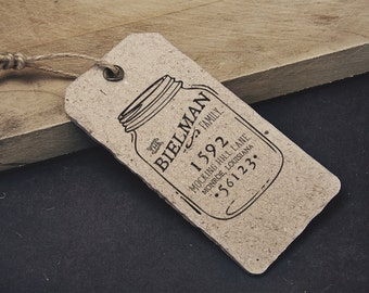 MASON JAR - Return Address Stamp, Custom 2x3 Stamp