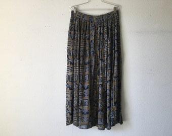 Vintage 80s Elastic Waist Long Skirt