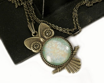 Steampunk Owl Necklace, Vintage Style Necklace, Bronze, Steampunk Pendant, Steampunk Jewelry, Faux Turquoise, Swarovski Crystals, Light Blue