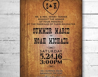 Wooden Country Wedding Invitation