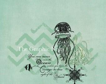 Jellyfish collage. Digital download.