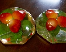 Acrylic Paperweights; Strawberries; Set of Two; Approx. 3 x 1.5 in. Vintage Kitsch !!!