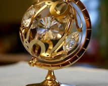 Mascot; Austrian Crystal; 24K Gold Plate; Miniature Globe; Approx. 2 x 3 in. Very Nice !!!
