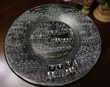 Mexican; Story Plate; Ceramic; Completely Hand Drawn; Folk Art; Approx. 12 Inches Round; Amazing Detail !!!