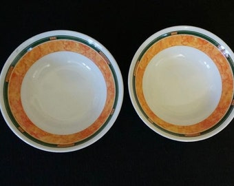 Melamine; Ceramic-Look; Bowls; Set of Two; Approx. 2 x 6 in.; Nice Colors!!!