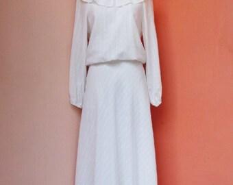 Vintage 70s White Cotton Maxi Dress