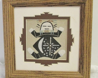Navajo Sand Painting Art, Framed  7.5 x 3.5 inch, Father Sky Navajo Symbolism, Vintage Wall Hanging