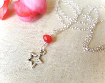 """18"""" Sterling Silver Necklace with Star Charm and Red Accent Bead, Delicate Star Charm Necklace, Silver Star Necklace, Minimalist Necklace"""