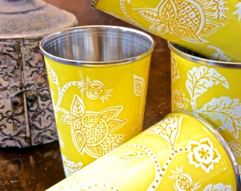Handpainted Enamelware Tumblers-Yellow
