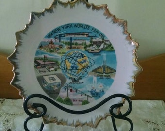 Vintage New York Worlds Fair collectible Plate Unisphere Souvenir Plate Historical Decorative Dish wall hanging gold plate kitsch 1961 1963