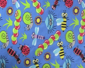 Childrens Jersey - Blue Bugs Jersey Fabric