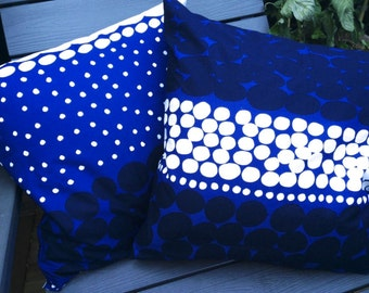 ONE Blue Jurmo cushion case, handmade from Marimekko designer fabric from Finland Marimekko
