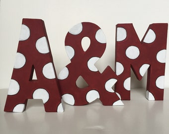 Texas A&M handpainted polka dot letters