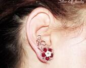 Red Elven Flowers ear studs, Ear climber, flower earrings, wire ear studs, elf ear studs, Cosplay jewelry, dryad earrings
