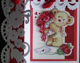 scrapbooking card, Teddy lover roses