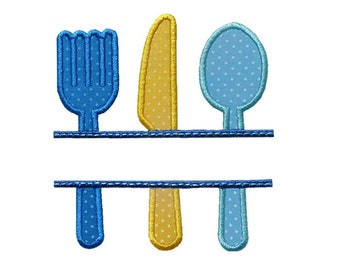 Silverware Name Plate Applique Machine Embroidery Digital Design Fork Knife Spoon