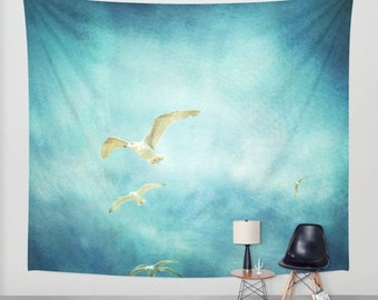 SALE Ocean Tapestry. Home Decor. Large Size Wall Art. Photo tapestry, ocean tapestry, beach house decor, seagulls tapestry, sky tapestry