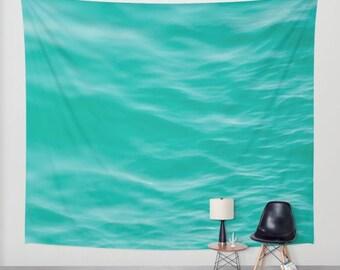SALE ocean wall tapestry, large size wall art, wall decor, ocean sea, dreamy wall art, green mint turquoise
