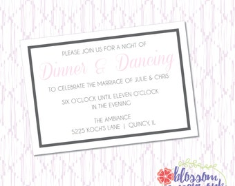 Pink & Gray - Printable Wedding Reception Card