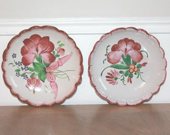 Wall Plates, French Wall Decor, Wall Hanging, Wall Art, Wall Decor, French Plates, French Antique Plates, Hand-painted, Collectible Plates