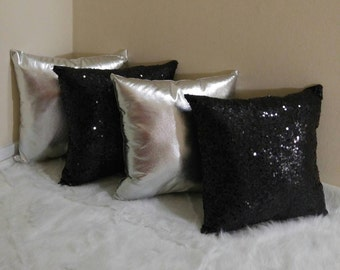 Silver/Black Sequin and Faux Leather Pillow Set