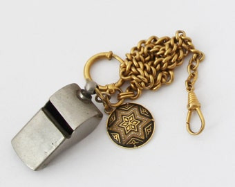 1950s Vintage French Whistle Lot Pocket Watch Chain Lot Star of David Fob
