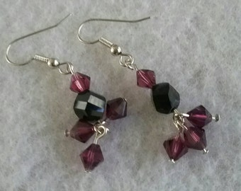 Light and dark purple BICONE earrings