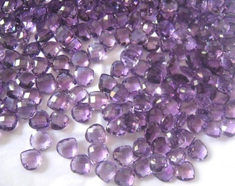 Lot Of 10 Pcs. Natural Amethyst Heart Checker Cut Briolettes Gemstone For Jewelry